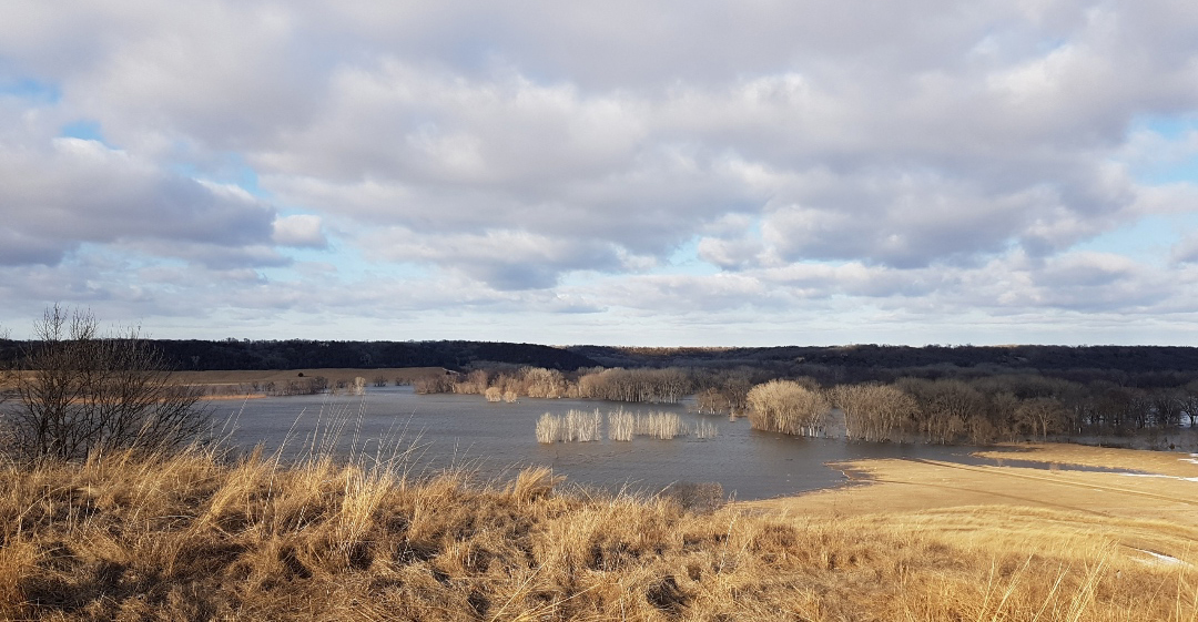 In contrast to the previous image taken in the exact same spot (see Adam's interview), this image shows flooding in late March, 2019. Adam tells us that the flooding didn't recede until the end of May and that this is unprecedented in his experience. The Minnesota River runs along the left side of the hilltop and the Yellow Medicine River runs along the right side of the hilltop. Image courtesy of Adam Savariego.