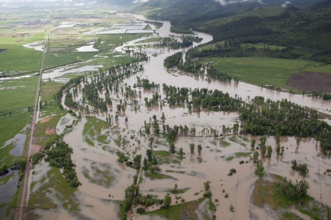 Aerial shot of Clark Fork River near Missoula in May 2011. The level of the river is very high.