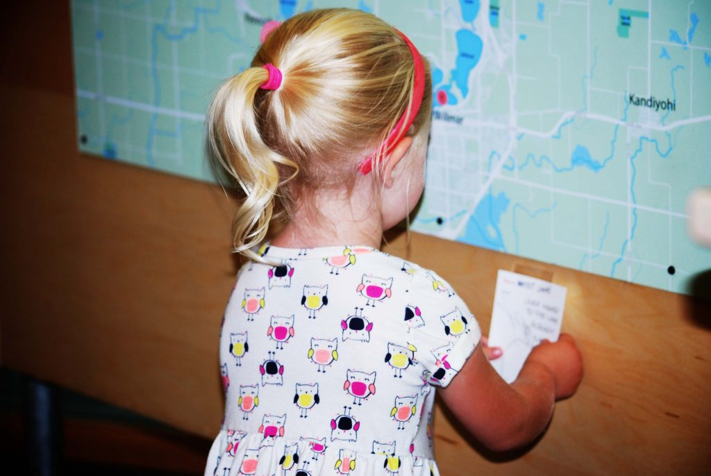 A child adding her story to the Prairie Woods Environmental Learning Center Story Map, June-July 2016.