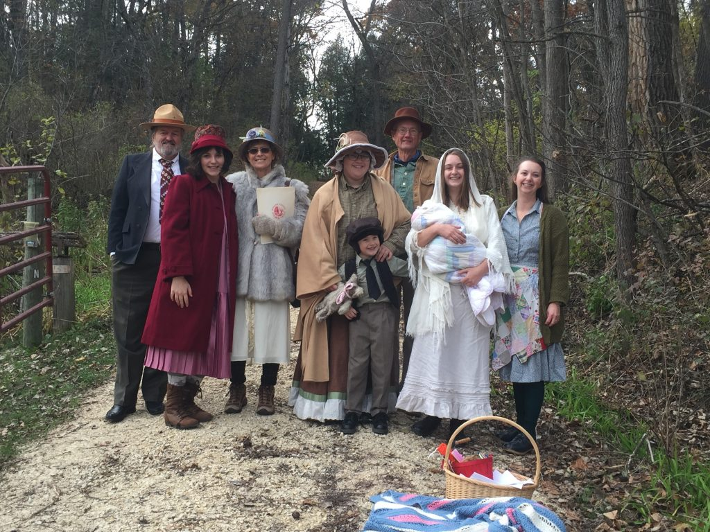 Whitewater State Park volunteers dress in period-appropriate attire to portray the residents of Beaver cemetery.
