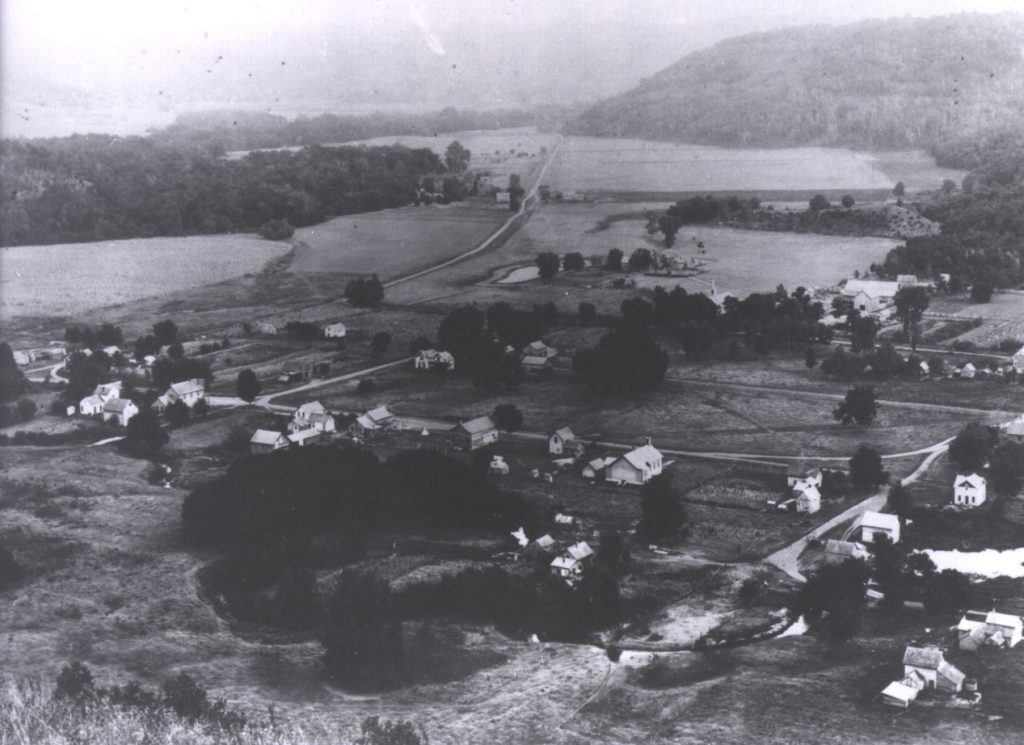 Aerial shot of Beaver Village circa 1900.