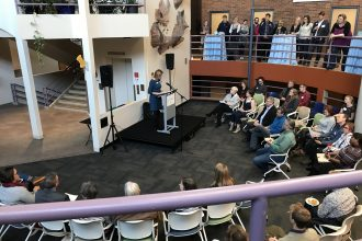 The opening ceremony for the We Are Water MN exhibit at the University of Minnesota.
