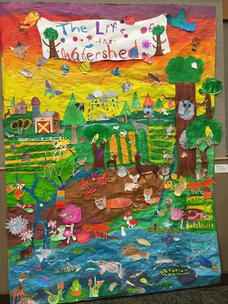 As part of The Watershed Project, Davenport North High School students worked with Harrison Elementary students to create this mixed media mural of The Life of a Watershed. Students in grades K–5 each contributed a facet of the ecosystem. Image courtesy of the author.