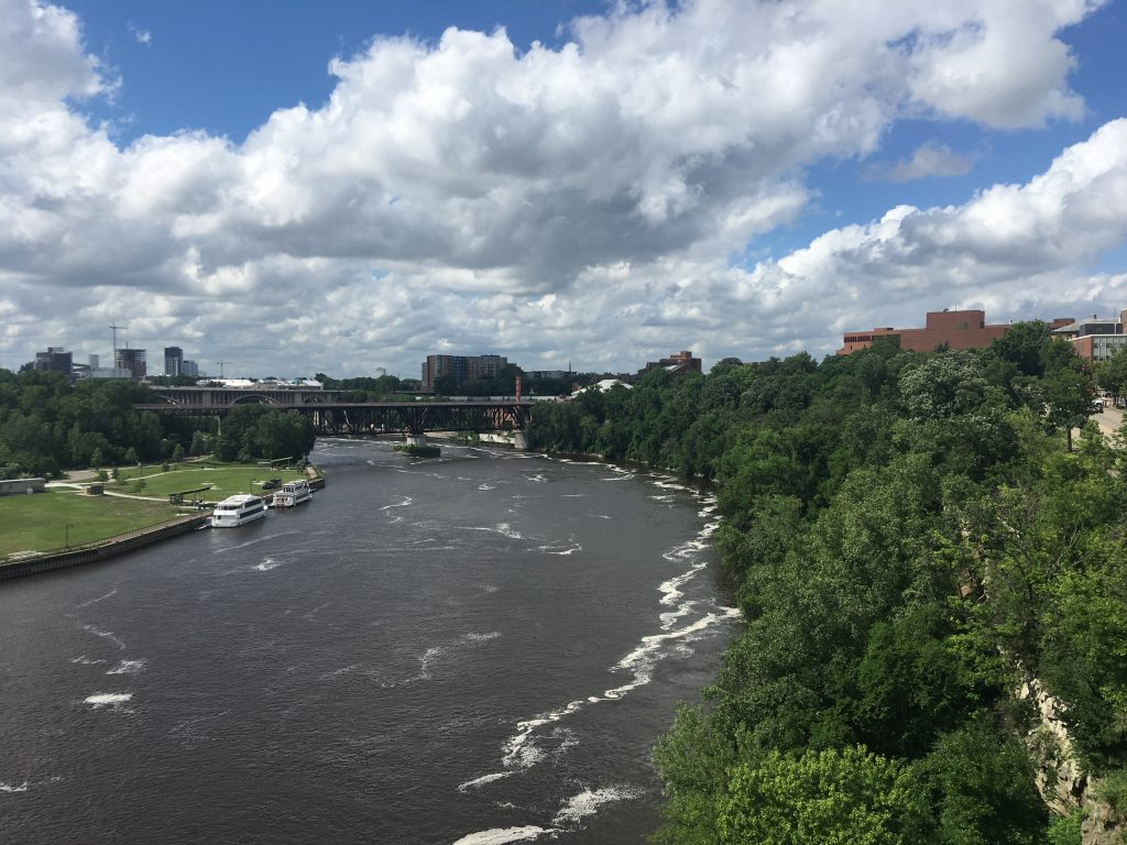 The Mississippi River seen on a visit by the Iowa Water Center staff to the Minnesota Water Resources Center in summer of 2019. Image courtesy of the author.