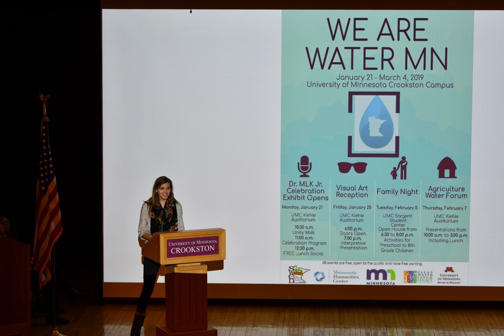 Elizabeth Bailey, Conservation Corps member, introduces We Are Water MN events for the Crookston Exhibit. Image courtesy of Terry Tollefson.