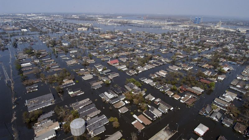 Low level aerial photograph of New Orleans, showing flooded streets.