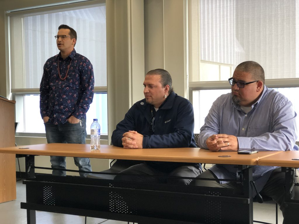 From left, Tom Howes (Fond du Lac), Bradley Harrington (Mille Lacs), and Jason Schlender (Lac Courte Oreilles) share their personal stories about water and why they fish.