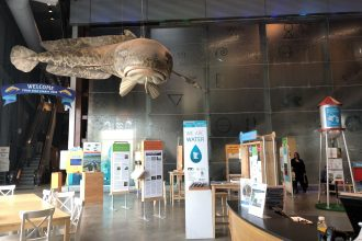 We Are Water MN on exhibit in the lobby of Great Lakes Aquarium, Duluth, March 10–April 22, 2019.