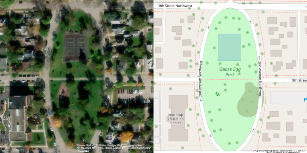 The image on the left is an aerial photograph of Goose Egg Park in Rochester, Minnesota. The image on the right illustrates how features such as trees, sidewalks, and the park property are represented in OpenStreetMap. Aerial Photograph Courtesy of Esri, DigitalGlobe, GeoEye, Earthstar Geographics, CNES/Airbus DS, USDA, USGS, AeroGRID, IGN, and the GIS User Community. Map on the right courtesy of OpenStreetMap and contributors (CC-BY-SA) and Ashley Ignatius.