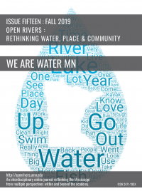 "Cover of issue fifteen showing the title ""We Are Water MN"" and a blue water drop shape. The shape is filled with words such river, lake, year, up, water, go. At the center of the blue droplet, is a white silhouette of Minnesota."