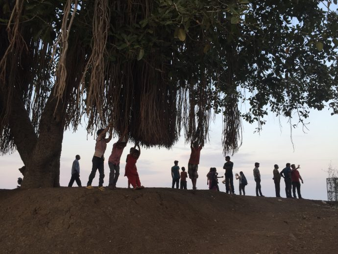 Children swinging on the pond's banyan tree. Image courtesy of the author.