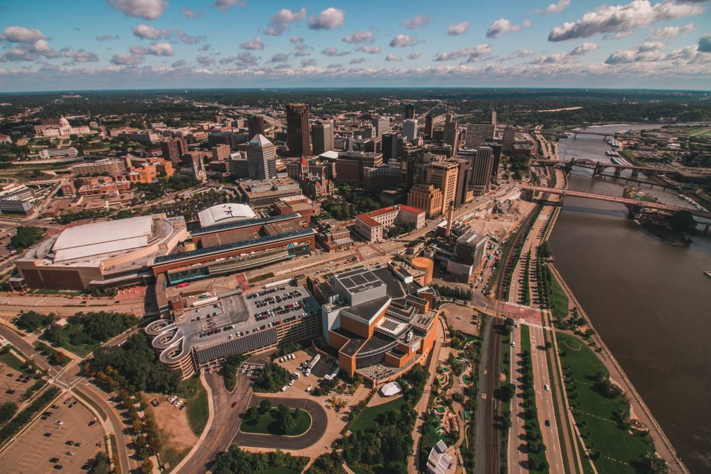 Aerial view of the St. Paul riverfront. Saint Paul's riverfront historically has lacked opportunities for human connection and access to the river. Image courtesy of Visit Saint Paul.