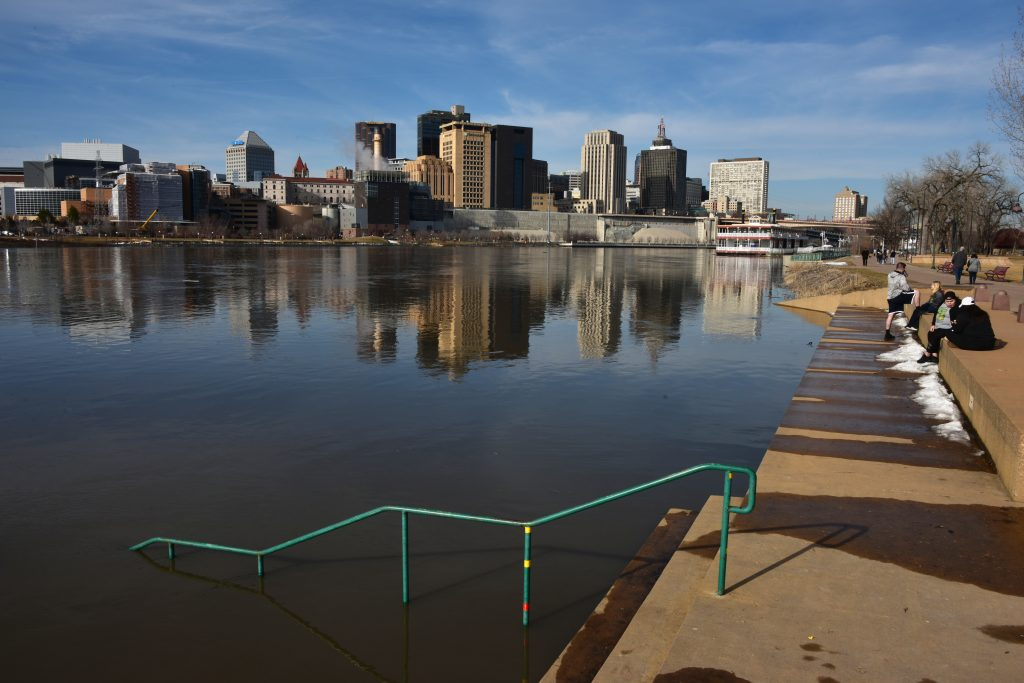 "Mississippi River flooding in 2019, near downtown Saint Paul. Image courtesy of August Schwedfeger (<a href=""http://schwerdfeger.name"" target=""_blank"" rel=""noopener noreferrer"">http://schwerdfeger.name</a>)."