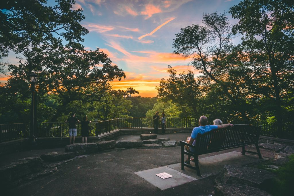 Sunset relaxation at Shadow Falls overlook, Saint Paul. Image courtesy of Visit Saint Paul.