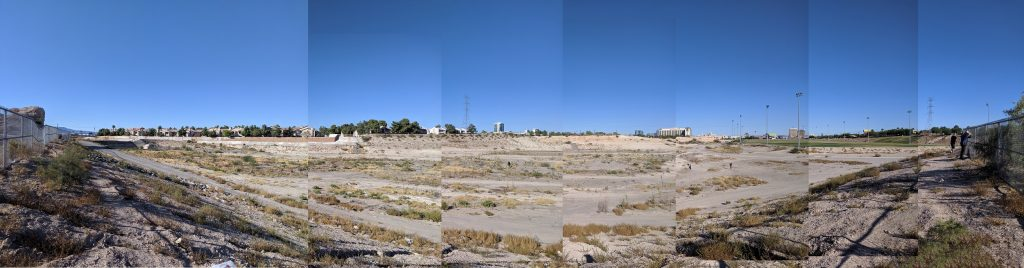 Looking into the Tropicana Detention Basin, where a public park sits within a piece of flood control infrastructure. Image courtesy of the author.