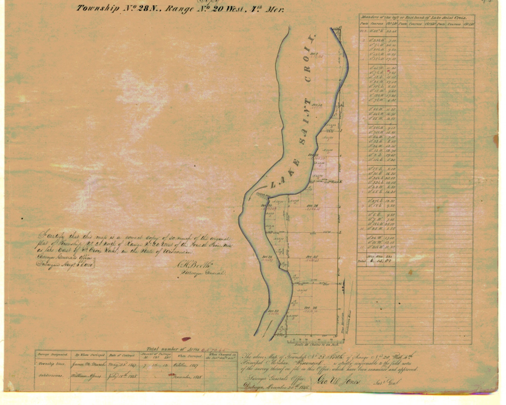 Wisconsin Township No. 28 N. Map 1850. Surveyor General's Office 1847-1848. Dubuque.