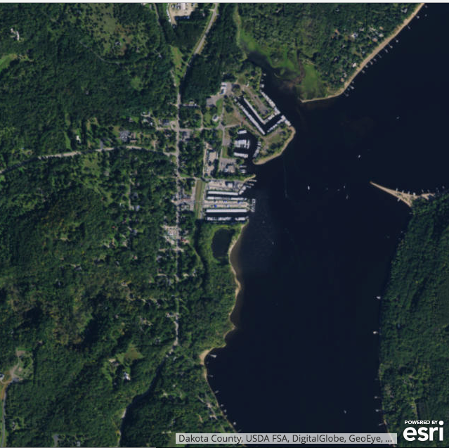 Figure 7: Current view with Marina (see Fig. 8). Image courtesy of Earthstar GeoGraphics, Dakota County, USDA FSA, DigitalGlobe, GeoEye, Microsoft, CNES via ESRI.