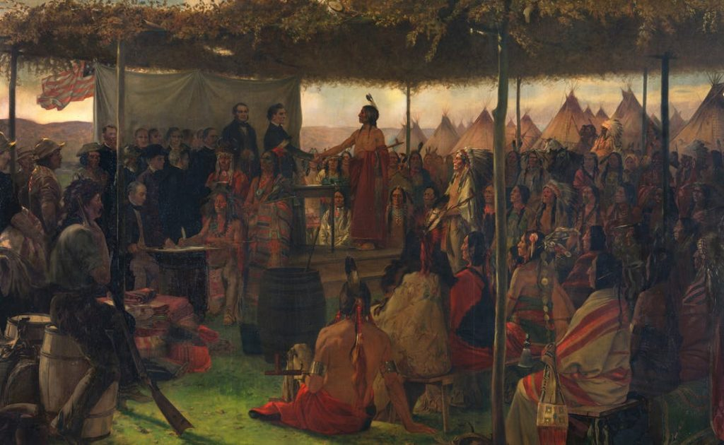 Artist Francis Millet's depiction of the signing of the Treaty of Traverse des Sioux in 1851 gives an air of nobility to what were, in fact, shady dealings by the United States government. The painting still hangs in the Minnesota State Capitol.