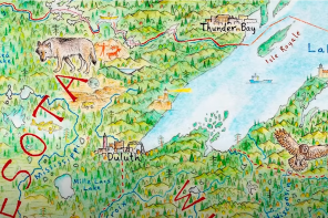 Hand-drawn map with Duluth and Lake Superior at the center