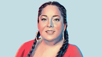 Painted image of Abigail Echo-Hawk, a citizen of the Pawnee Nation of Oklahoma and director of the Urban Indian Health Institute