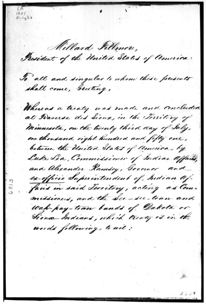 Page one of Treaty of Traverse des Sioux, 1851.