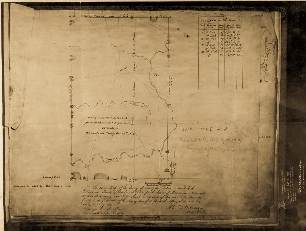 1833 Survey of Menominee's Reservation. Image courtesy of the Indiana State Library, Indiana Map Collection.