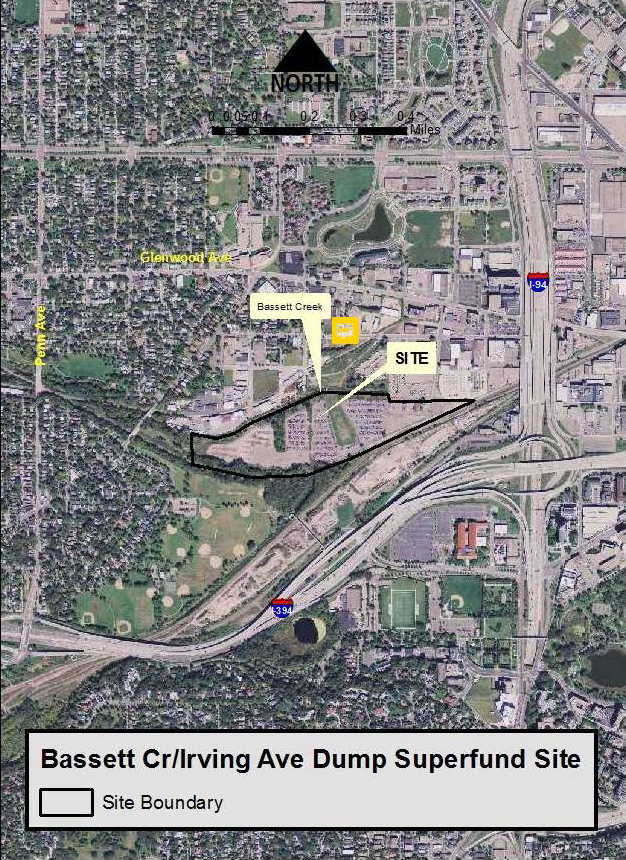 The Bassett Creek/Irving Ave Dump Superfund Site is on the Minnesota Permanent List of Priorities due to its elevated concentrations of lead, polynuclear aromatic hydrocarbons (PAHs), and volatile organic compounds (VOCs). Map published by MPCA (2013).