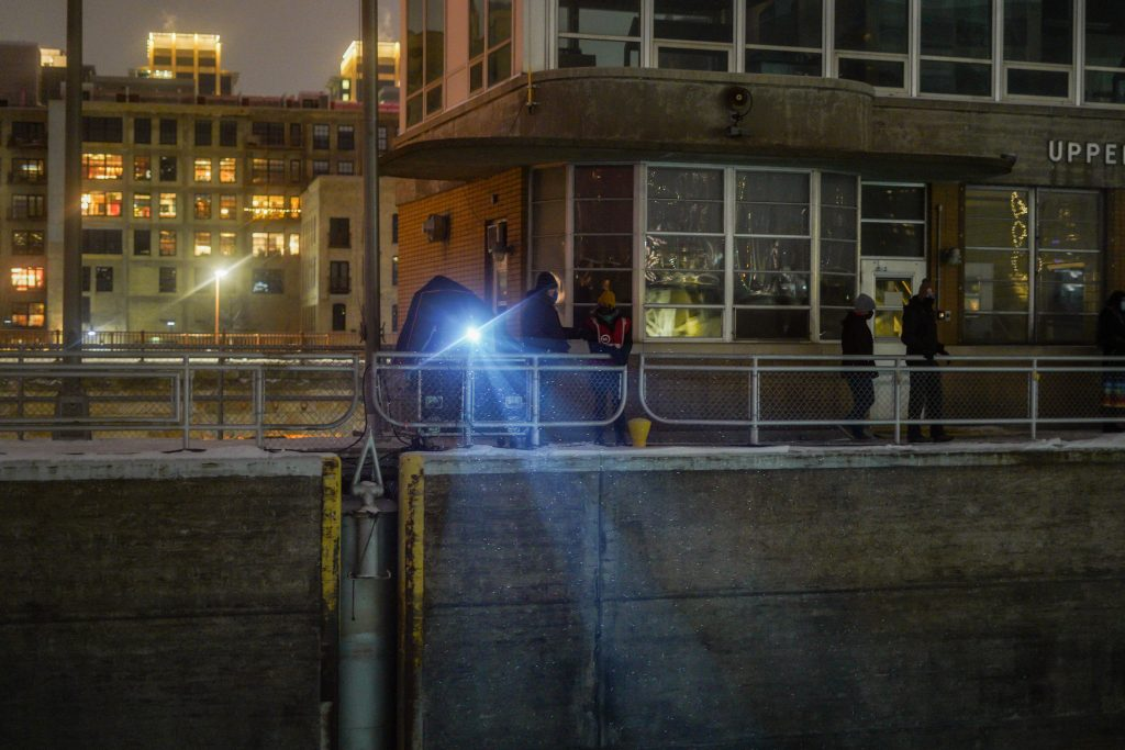 Using two large, high luminosity projectors, the animation was projected over the edge of the lock and monitored from a makeshift tech room. Image courtesy of Nedahness Greene.