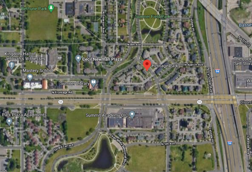 Google Maps satellite image of Heritage Park and surrounding area.