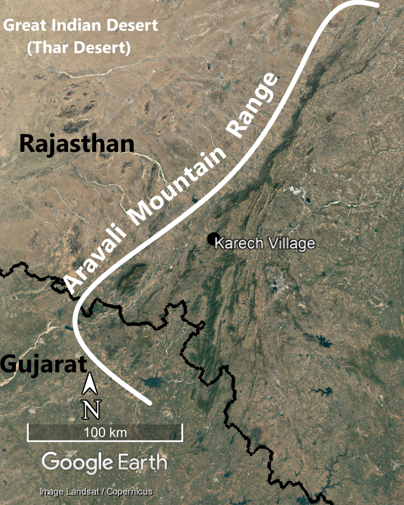 Location of Karech Village with respect to the Aravali Mountain Range, Gujarat, and Rajasthan. Map prepared by the author.