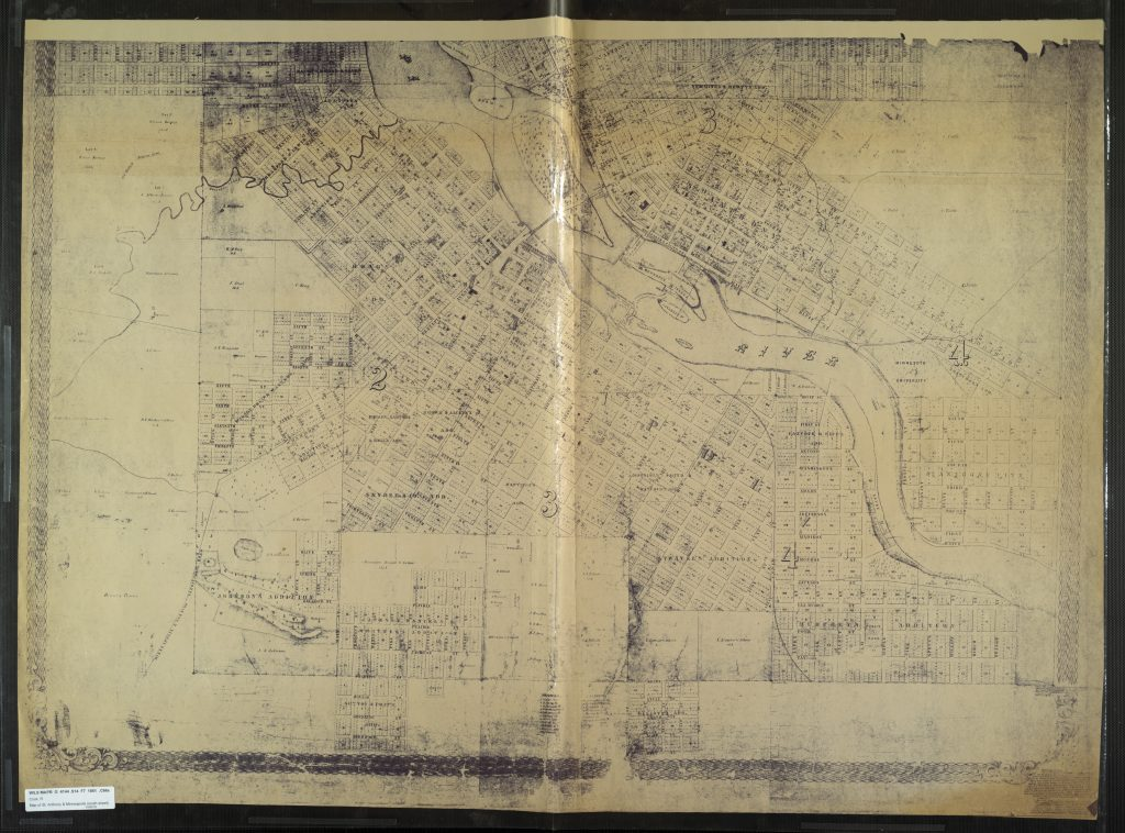A meandering Bassett Creek outlined on an 1861 plat map by R. & F. Cook.
