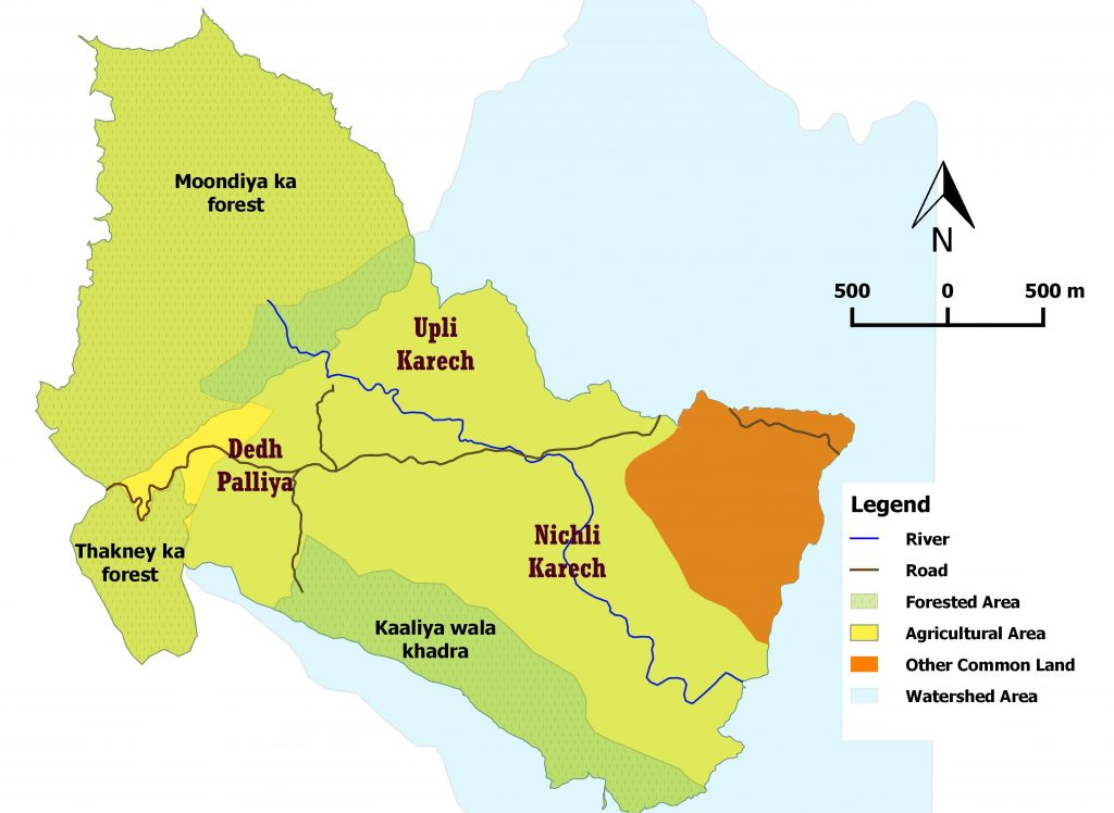 Watershed map of Karech, prepared by the author.