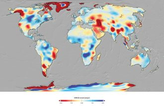 Map of the future of water showing that wetter areas are getting wetter and drier areas are getting drier.