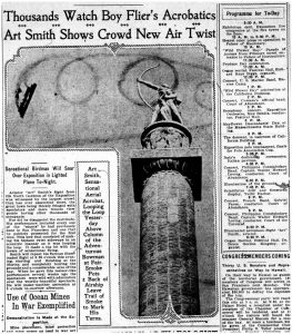 "Fig. 4. ""Thousands Watch Boy Flier's Acrobatics,"" San Francisco Examiner, April 24, 1915, 7."
