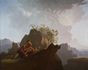 "Fig. 11 George Caleb Bingham, The Concealed Enemy, 1845. Oil on canvas; H. 29 ¼"", W. 36 ½"". (Stark Museum of Art, Orange, Texas.)"