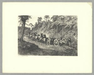 "Edwin Forbes, Through the Wilderness, Plate 3 from Life Studies of the Great Army, New York, 1876. Etching; H. 11"", W. 15 7/8"". (Metropolitan Museum of Art, New York, Harris Brisbane Dick Fund, 1940.)"