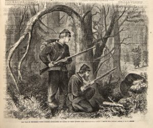 After C.E.H. Bonwill, The War in Tennessee—Union Pickets Approached by Rebels in Cedar Bushes Near Chattanooga, Frank Leslie's Illustrated Newspaper, Dec. 12, 1863. Wood engraving. (Newberry Library, Chicago.)