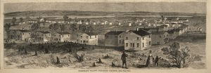 Fig. 15 After Alfred R. Waud, Freedman's Village, Arlington, Virginia, Harper's Weekly, May 7, 1864. Wood engraving. (Newberry Library, Chicago.)
