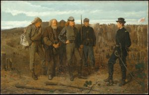 "Winslow Homer, Prisoners from the Front, 1866. Oil on canvas; H. 24"", W. 38"". (Metropolitan Museum of Art, New York, Gift of Mrs. Frank B. Porter, 1922.)"