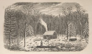 Fig. 2 Ebenezer Mix, The Pioneer Settler: First Scene. From O[rsamus] Turner, Pioneer History of the Holland Purchase of Western New York, Buffalo, N.Y., 1849. Engraving. (Newberry Library, Chicago.)