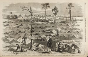 Fig. 3 After E. F. Mullen, General Butler's Army in Camp South of the James River. From Frank Leslie's Illustrated History of the Civil War, New York, c. 1890. Wood Engraving.