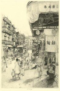 John W. Winkler, Busy Day in Chinatown, ca. 1917-20. Etching, 19.875 x 13 in. © The John W. Winkler Estate. Collection of the Oakland Museum of California, gift of John G. Aronovici and Carol Johnson.