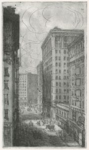 Fig. 10. John W. Winkler, Post Street, 1914. Etching, 8.75 x 5.125 in. © The John W. Winkler Estate. Private collection.