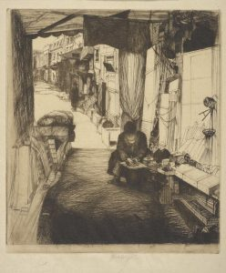 Fig. 2. John W. Winkler, The Delicatessen Maker (new), c. 1917. Etching, 9.25 x 8.11 in. © Fine Arts Museums of San Francisco and the John W. Winkler Estate. Achenbach Foundation for Graphic Arts, Fine Arts Museums of San Francisco.