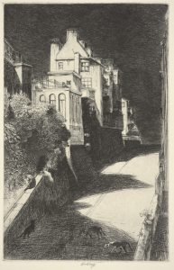 Fig. 7. John W. Winkler, <i> Haunted House (Sally Stanford House)</i> , c. 1914. Etching, 10.8 x 7 in. © Fine Arts Museums of San Francisco and the John W. Winkler Estate. Achenbach Foundation for Graphic Arts, Fine Arts Museums of San Francisco, gift of John G. Aronovici.
