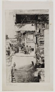 Fig. 9. John W. Winkler, Corner Fruit Stand with Hydrant, 1921. Etching, 11.75 x 7.125 in. © The John W. Winkler Estate. Iris and B. Gerald Cantor Center for Visual Arts at Stanford University; Gift of Dr. A. Jess Shenson.