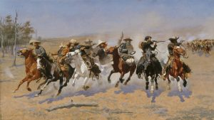 Fig. 1. Frederic Remington, A Dash for The Timber, 1889. Oil on canvas, 48 x 84 1/8 in. Amon Carter Museum of American Art, Fort Worth, Texas. 1961.381.