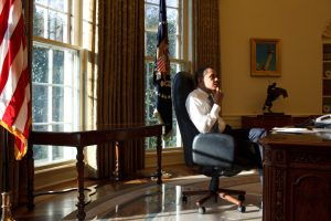 Fig. 15. Peter Souza, President Barack Obama in the Oval Office on His first Day in Office 1/21/09. Official White House Photostream, .
