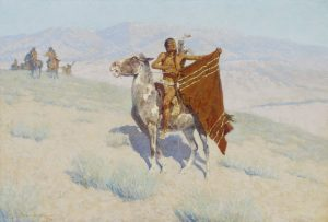Fig. 16. Frederic Remington, The Blanket Signal, 1909. Oil on canvas, 27 x 40 in. Museum of Fine Arts, Boston. Bequest of Stephen and Priscilla Davies Paine in memory of William A. and Ruth Ward Paine.