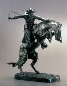 Fig. 6. Frederic Remington, Bronco Buster, modeled 1894-1895, cast circa 1907. Bronze, 22 x 18 x 12 in. (55.88 x 45.72 x 30.48 cm). White House Historical Association, Washington, DC (White House Collection): 512. NB : formerly published as Broncho Buster.